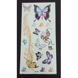 Tillfällig Tatuering 19 x 9cm - Metallfärg - fjärilar