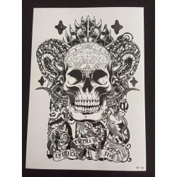 Tillfällig Tatuering 21 x 15cm - satanic scull