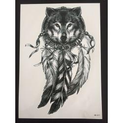 Tillfällig Tatuering 21 x 15cm - Spiritual Wolf