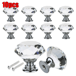 10PCS Fashion Home Diamond Shaped Crystal Handle Non-slip Knob 10PCS