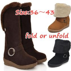 2 Ways Women Boots Winter Outdoor Keep Warm Fur Boots Coffee 37