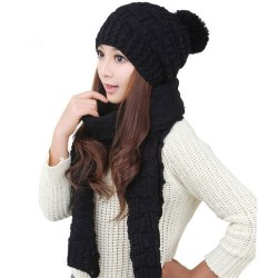 2PCS Women Winter Warm Scarf Hat Set black
