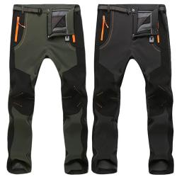 5XL Men Hiking Pants Outdoor Softshell Fleece gray 5XL