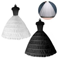6 Hoops Bridal Wedding Dress Petticoat Skirts Crinoline White