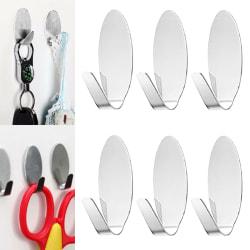 6PCS krokar i rostfritt stål för användning i kök, badrum, kontor Oval