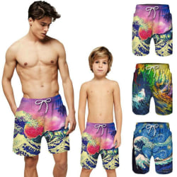 Adults Kids Mens Boys Summer Beach Trunks Swim Pants Shorts Pink Dad's