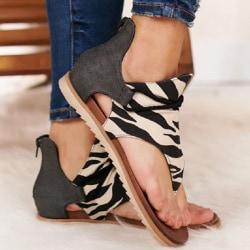Anti Slip Leapard Retro Plywood sandals Zebra 37