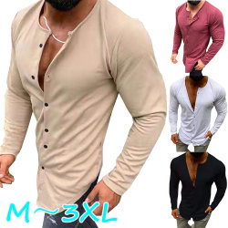 Autumn Men Cotton Linen Buttons Slim Shirt red L