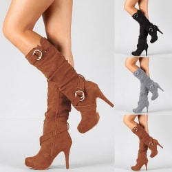 Autumn Winter Fashion Women Sexy Buckle Knee brown 42