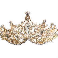 Baroque Crown Girl Wedding Hair Wear Accessories Bridal Tiara Gold