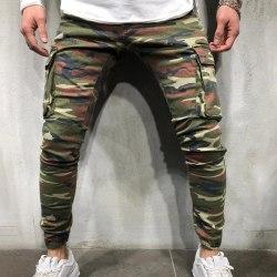 Camoufalge Men Pockets Workwear Jeans Camouflage M