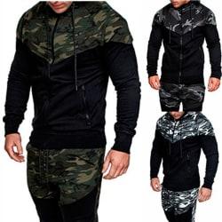 Camouflage Zipper Hoddies Winter Men Fashion Military dark grey L