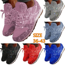 Casual Fashion Sequined Breathable Lace-up Single pink 36