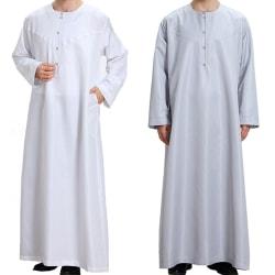 Casual Fit Thobe Abaya Robe Men Long - Casual Fit Thobe Abaya Ro gray 2XL