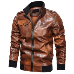Casual Men's PU Leather Jacket with Stand Collar Over Size Brown XL