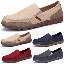 Color Stiching Men Rubber Casual Canvas Shoes Khaki 40