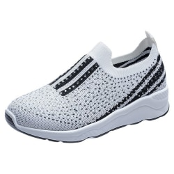 Comfortable Rhinestone Non-Slip Women's Shoes Sneakers White 36