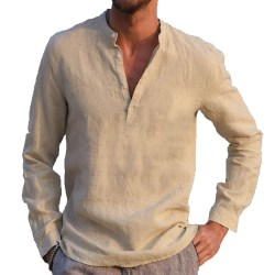 Cotton Linen Henry Collar Long Sleeve Men's Casual Shirt Khaki S