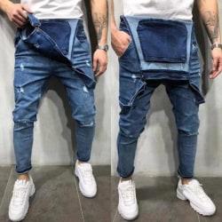 Distroyed Fashion Men Ripped Denim Jeans Black Black L