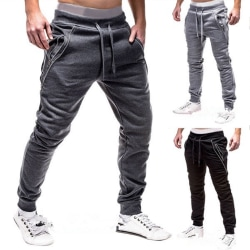 Drawstring Sweatpants Men Casual Training Jogger dark Grey L
