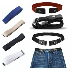Elastic Invisible Belt Adjustable Buckle Free Belts for Women Blue