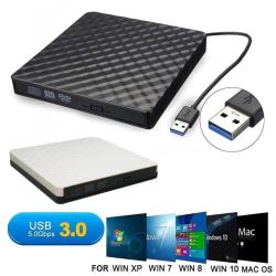External DVD Drive USB 3.0 External Slim RW CD Optical Drive White