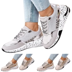 Fashion Breathable Lace-up Platform Shoes for Women Running Gray 39