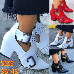 Fashion Casual Women Thick Heel Pointed Toe white 38