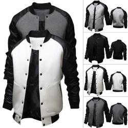 Fashion Men Autumn Winter Patchwork Coat Slim black M