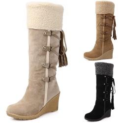 Fashion Scrub Plush Snow Boots Women Wedges black 36