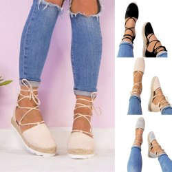 Fashion Women Lace Up Wedge Flat Sandals grey 6.5