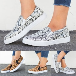Fashion Women's Slip on Loafers Leopard grey snake skin print 43