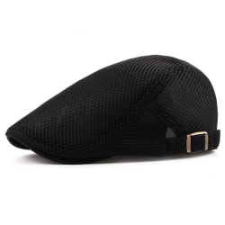 Fashionable Mesh Beret Solid Color Breathable Cap Men Women Black