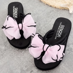 Girl Beauty Bow Flower Wedge Sandals Pink 38