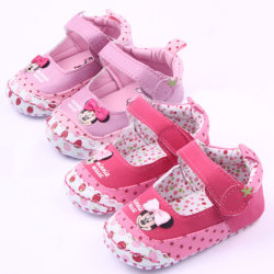 Infant baby girl boy handmade flat polka dot toddler shoes Pink 13