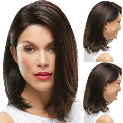 Lace Front Human Hair Wigs Straight Brazilian Remy brown
