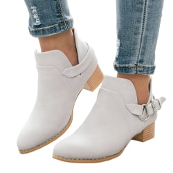 Ladies Autumn Leather Short Boots Pointed Toe gray 40