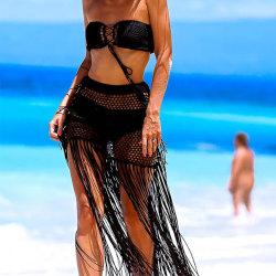 Ladies Beach Skirt Fringe Sexy Skirt Cool Breathable Summer Wear Black S
