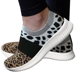 Ladies Color Matching Leopard Print Socks Shoes Casual 43