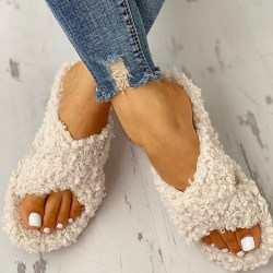 Ladies Cross Strap Flat Plush Slippers Sandals Beige 43