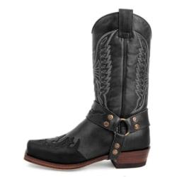 Kvinnor broderade Mid Calf Boot Western Cowboy Booties Shoes Black 40