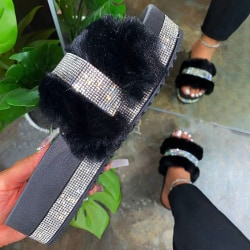 Ladies Flat Heel Plush Slippers Diamond Fashion Winter Slippers Black 37