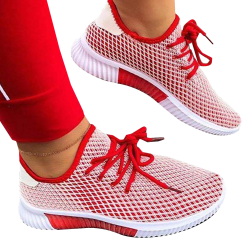 Ladies Flat Mesh Lace-up Casual Shoes Red 37