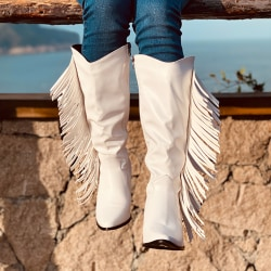 Women Fringe Cowboy Knee High Boots Wide Calf Biker Zip Up Shoes White 37