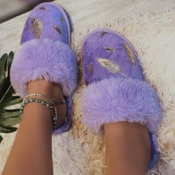 Ladies Home Shoes Round Head Bronzing Leaf Plush Slippers Purple 36-37