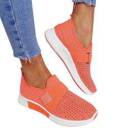 Ladies Knit Slip On Trainers Party Sneakers Shoes Orange 38