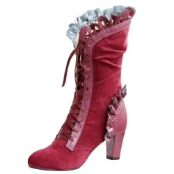 Women Vintage Lace Trim Gothic Punk Mid Calf Boots Leather Shoes Red 42