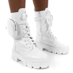Womens Combat Ankle Boots Platform Goth Punk Zip Lace Up Shoes White 36