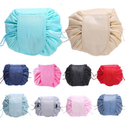 Ladies Portability Drawstring Cosmetic Bag Women Travel navy blue