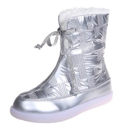 Women Casual Solided Winter Comfy Shoes Outwear Flat Ankle Boots Silver 40